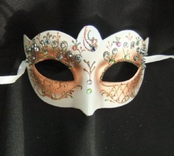 Pretty Gold & Peach Jewelled Flower Mask